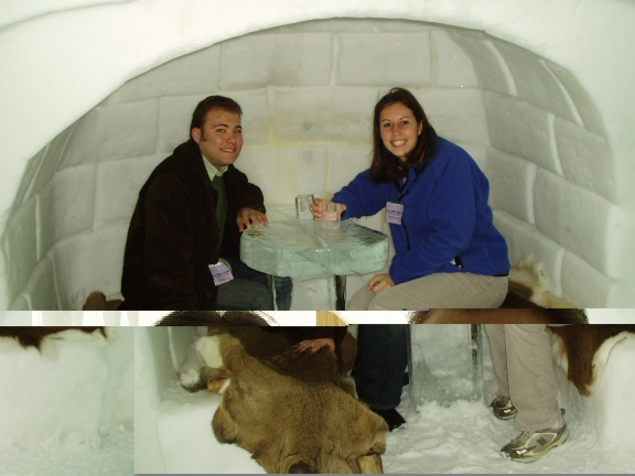 Young us visiting the ice hotel in Quebec