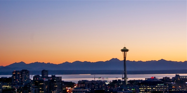 Space Needle, Elliot Bay and Olympic Mountains from Capitol Hill
