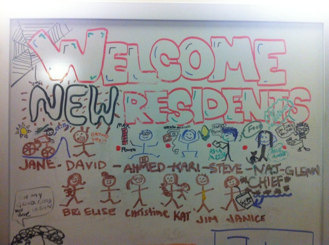 Old white board with annotations made throughout the year.