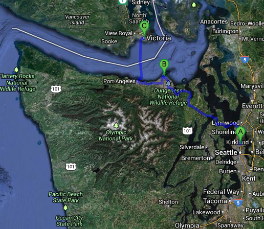 A: Seattle; B: Dungeness Spit; C: Victoria and then back again.