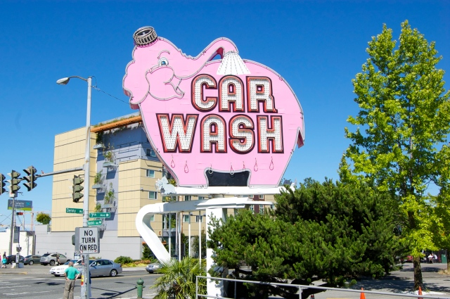 Seattle landmark Pink Elephant Car Wash (first automated car wash in the nation) - where Elvis cleaned his pink cadillac daily during the 1962 World's Fair