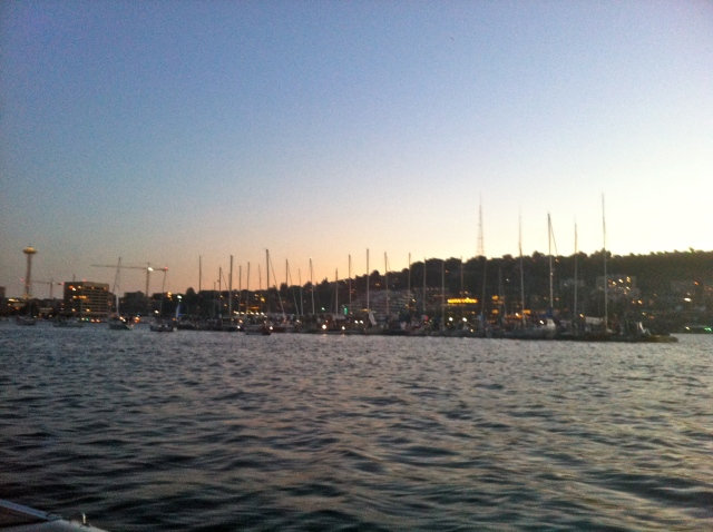 Party of 40 some odd sailboats in the middle of Lake Union. Apparently they do this every Tuesday night.