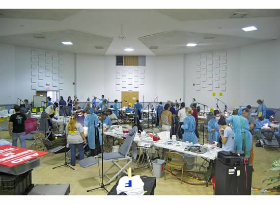 Typical set up - our temporary dental stations would be deployed in a gym , church or other community center