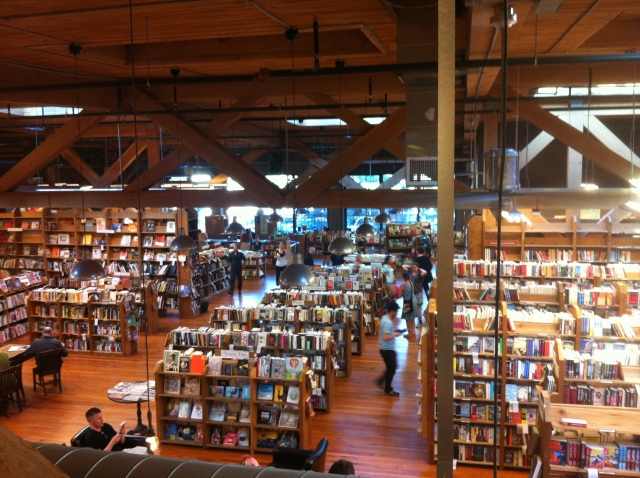 Checking out cool Seattle landmarks like the Elliot Bay bookstore in Capitol Hill.
