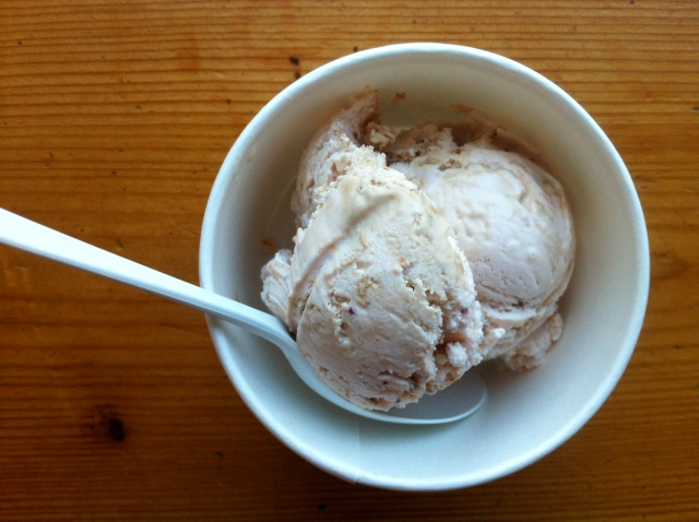 Eating Molly Moon's ice cream. Strawberry balsamic is my new favorite flavor.