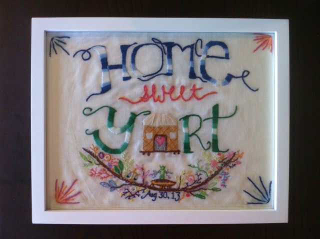 If you guessed that people who would have an unconventional wedding at Burning Man probably didn't register for gifts at Pottery Barn - you'd be right. Eric and Mel have a yurt that they use for BM and other festivals, so I made them this embroidered picture to hang in their new home.
