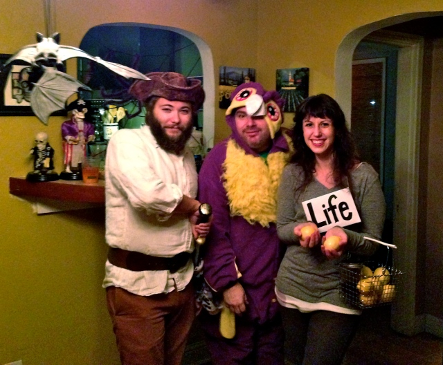 With our friend Tom in a purple Owl costume