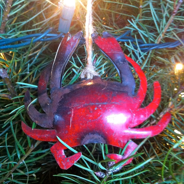 Last year Jeff gave me this handcrafted tin crab from when we went crabbing with our dear friends Bri and Ian up in the San Juans.