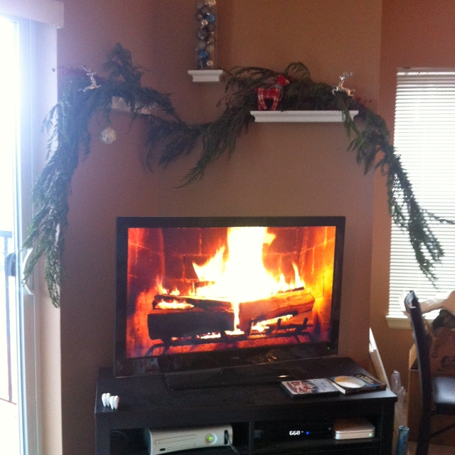 We may not have a real fireplace, but the Yule Log movie on Netflix made a nice replacement.
