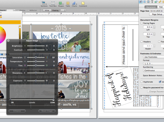 I started off by designing the card, front and back separately in Pages (the Mac equivalent of MS Word).