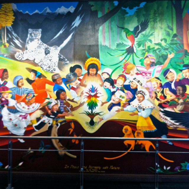 And then the final mural with peace in the Garden of Eden. The story these tell is basically of a horrific mass genocide, followed by a more peaceful, less populated world.