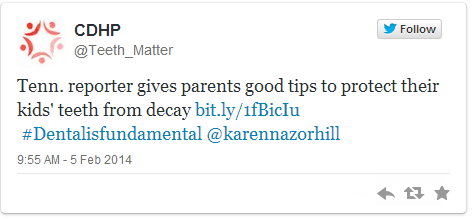 I tried to embed it here: Tenn. reporter gives parents good tips to protect their kids' teeth from decay http://t.co/nMBgzmIoWF #Dentalisfundamental @karennazorhill— CDHP (@Teeth_Matter) February 5, 2014