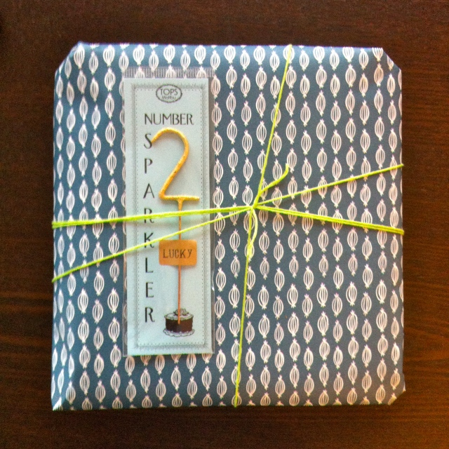 I know having a themed anniversary is probably some commercialized gimmick, but it sure makes giving gifts easier. Fancy wrapped paper and sparkler from Flourish in Greenwood.