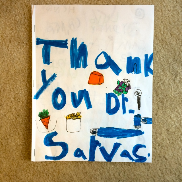 I got the sweetest thank you note from the class - definitely going to go on the fridge at home.