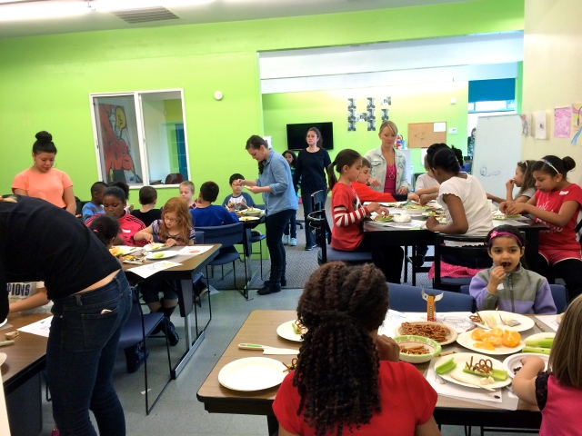 All in all the kids seemed to learn something about making healthy food choices, tried a few new veggies and left full and happy.