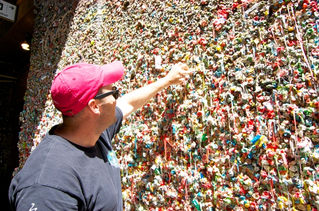 The boys liked the gum wall - Graham added to it.