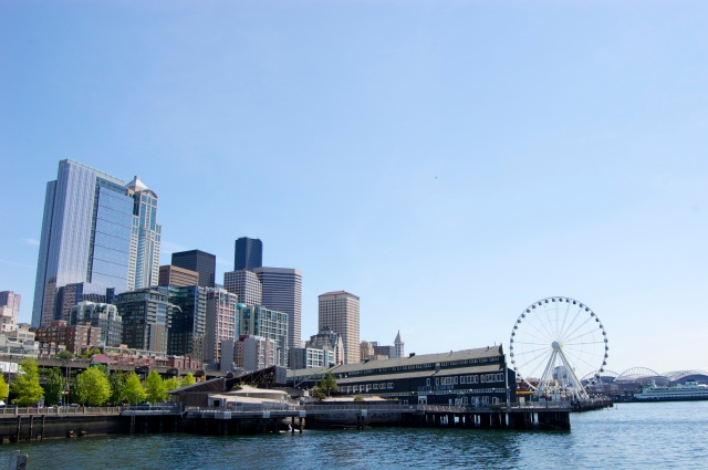 ..and downtown with the waterfront from the pier.
