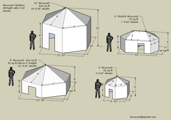 We decided to go with the six foot stretch yurt - more room than the little tiny one, but smaller than one of the monster yurts (and thus easier to pack).