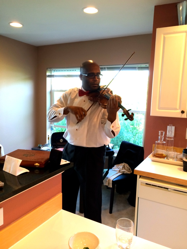On you know, just being serenaded by a Juilliard trained violinist while getting ready. Verlaine played for Symon and Ashley as they processed, and recessed down the aisle. It was fun because he also played our first dance at our wedding.