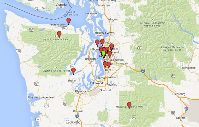 This is the greater NW Washington area we covered.