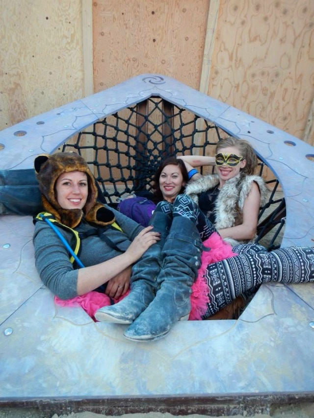 Hanging out with friends in a huge net-hammock seat.