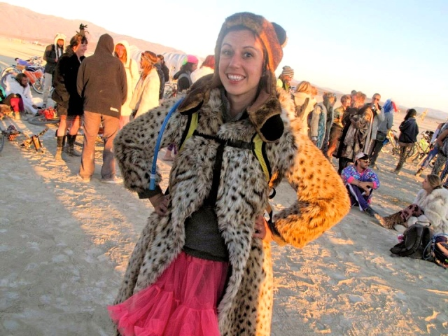 Because Burning Man is the only place a bear hat, hot pink tutu, geometric tights, moccasin boots and a leopard fur coat don't look out of place together.