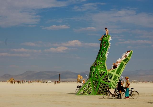 Giant crocodile art installation