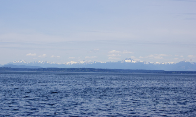 View of the Olympics across the Puget Sound