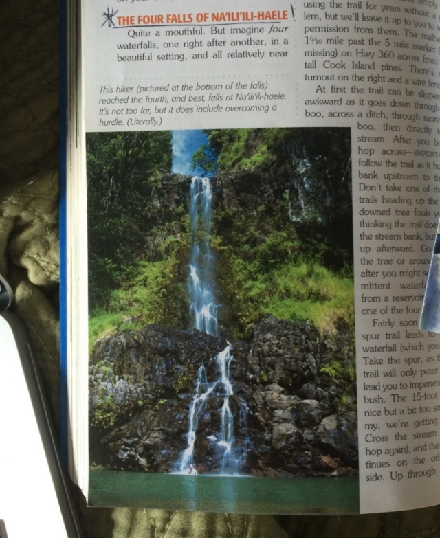 I risk taking my camera to take a picture of the fourth falls (carrying my boots over my head was tough enough and it's okay if they fell). This is a picture of the fourth falls from the guidebook.