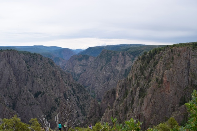 First view - gorgeous! The Gunnison River that carves the canyon averaged a drop of 34 ft per mile. By comparisons, the Grand Canyon's Colorado drops 7.5 per mile.